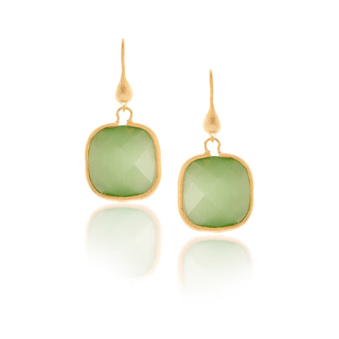 Cat's Eye Lime Cushion Cut Dangle Earrings