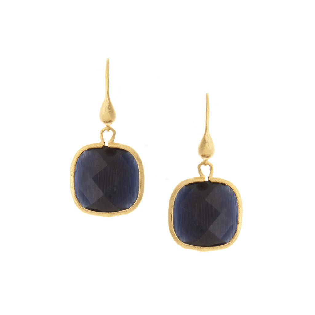 Cat's Eye Navy Cushion Cut Dangle Earrings