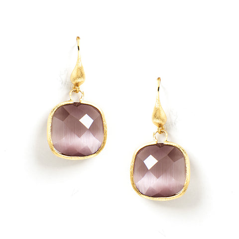Cat's Eye Purple Cushion Cut Dangle Earrings
