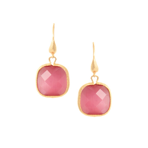Cat's Eye Raspberry Cushion Cut Dangle Earrings