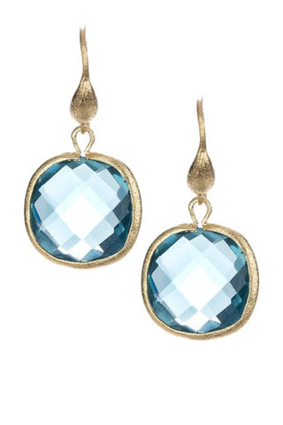 Denim Cushion Cut Dangle Earrings