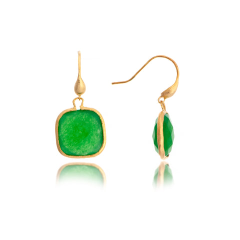 Green Quartzite Cushion Cut Dangle Earrings