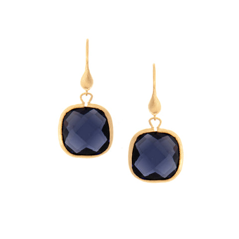 Iolite Cushion Cut Dangle Earrings
