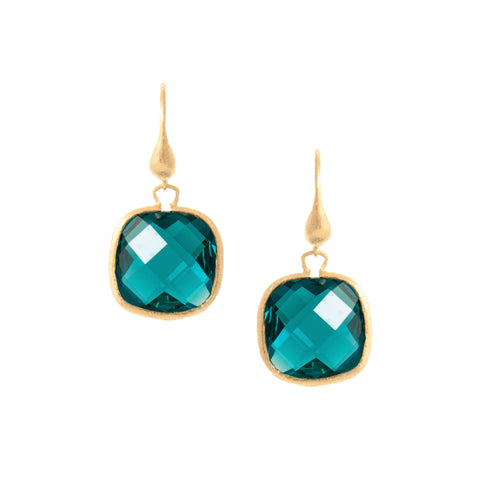 London Blue Cushion Cut Dangle Earrings