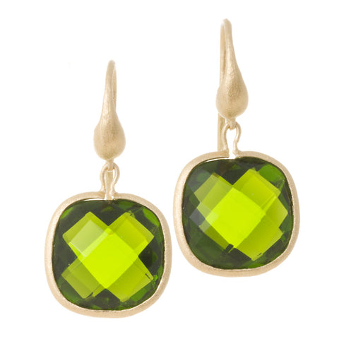 Peridot Cushion Cut Dangle Earrings