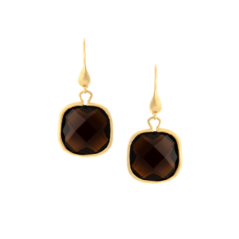 Smokey Cushion Cut Dangle Earrings