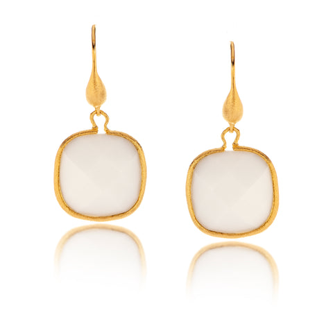 White Agate Cushion Cut Dangle Earrings