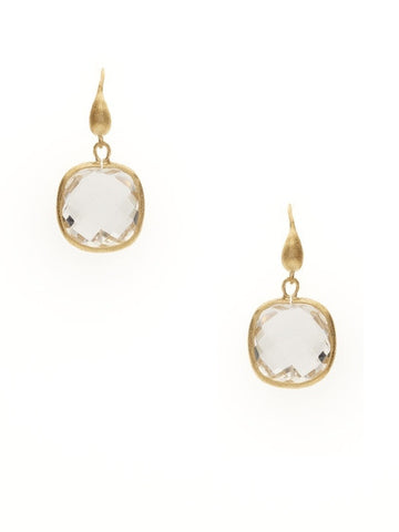 Rock Crystal Cushion Cut Dangle Earrings