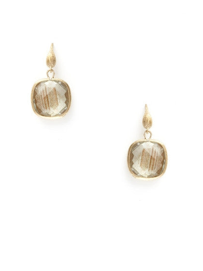 Golden Rutilated Cushion Cut Dangle Earrings