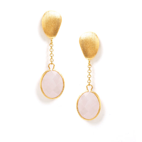 Rose Quartz  + Satin Pebble Cascading Earrings