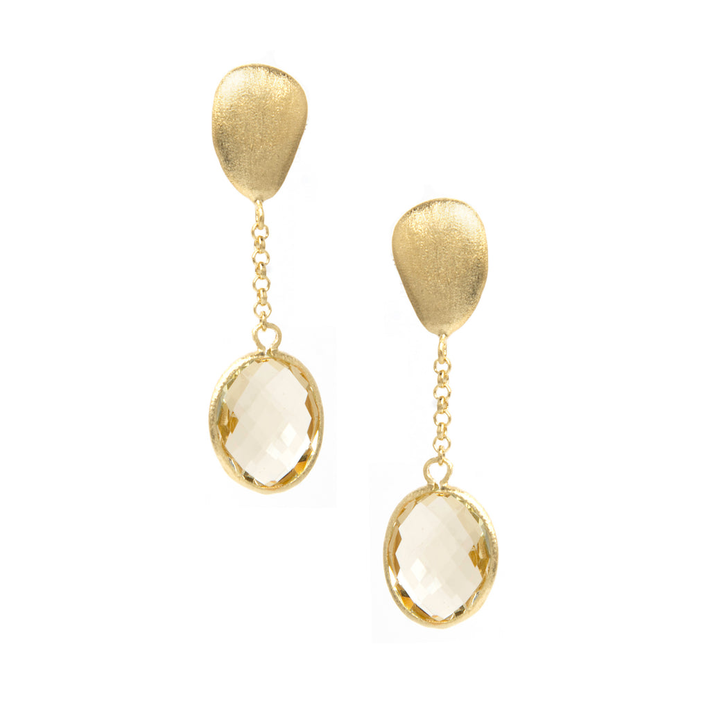 Canary Yellow Oval Drop Earrings
