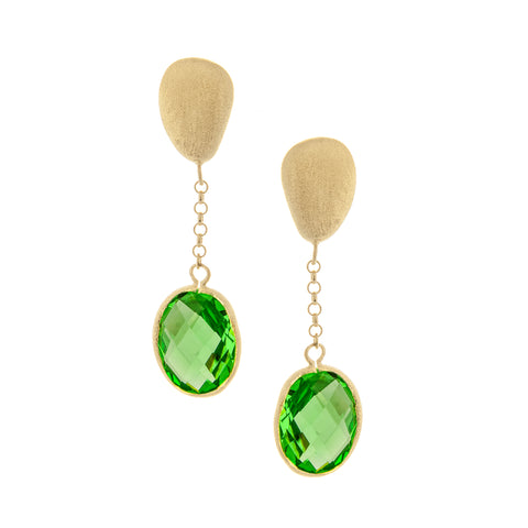 Peridot + Satin Pebble Cascading Earrings