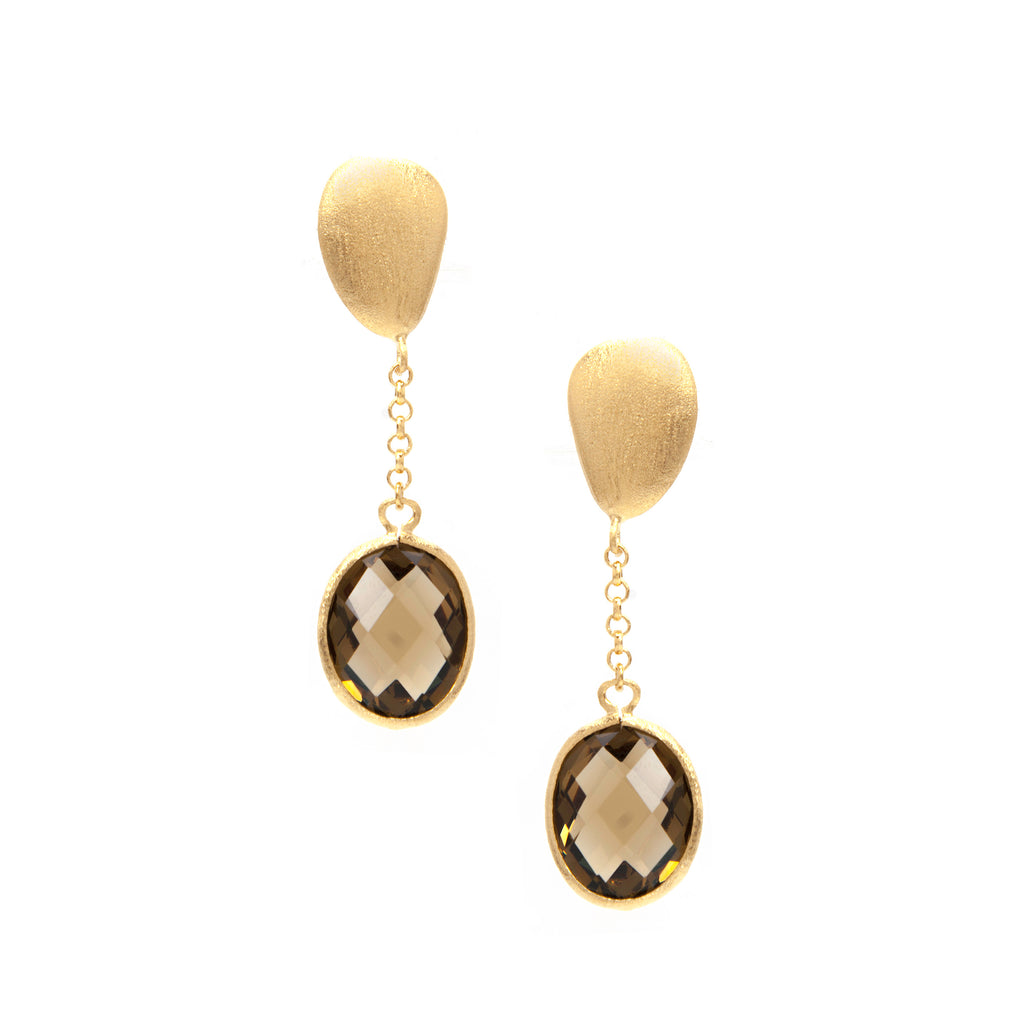 Smokey + Satin Pebble Oval Cascading Earrings