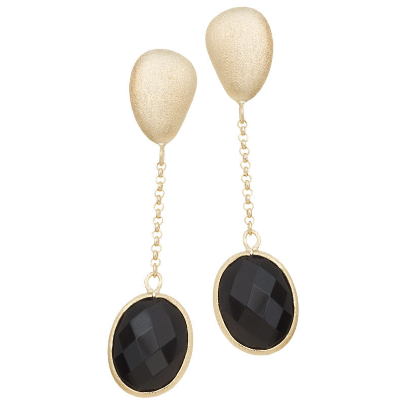 Onyx + Satin Pebble Oval Cascading Earrings