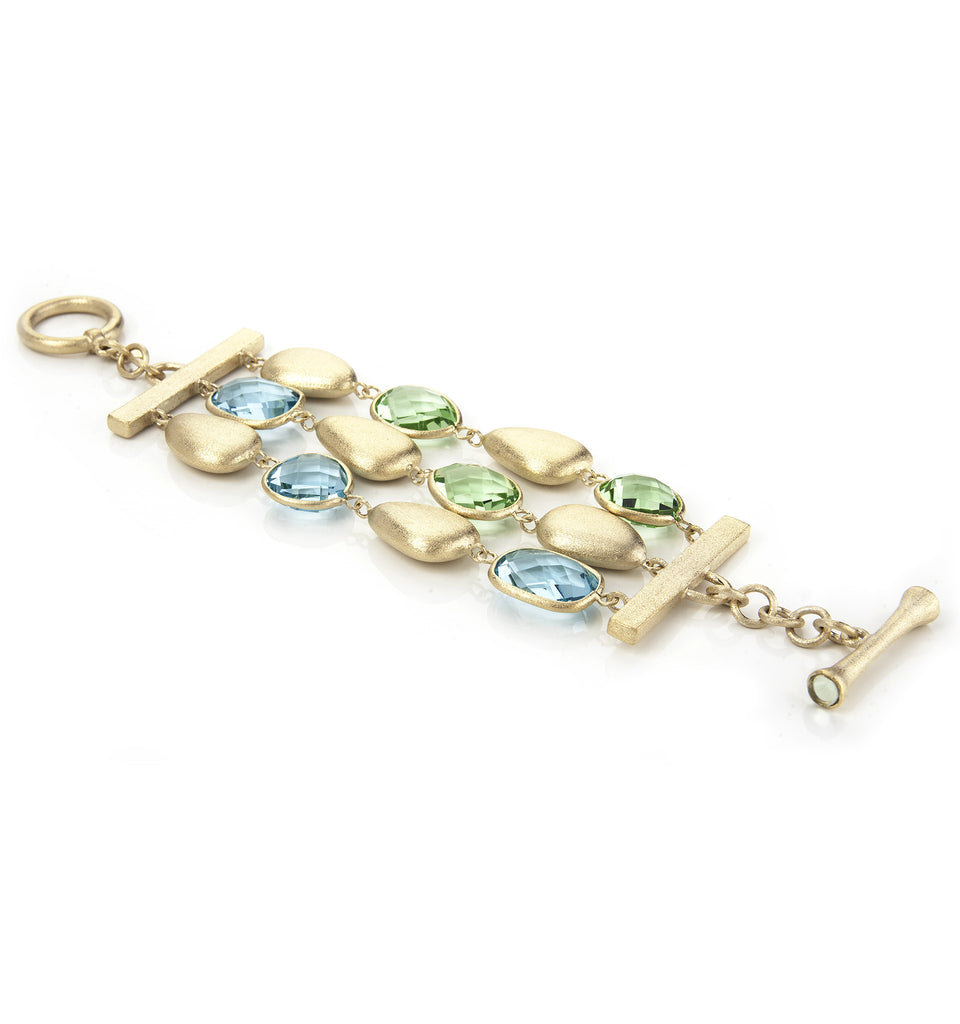 Apple Green + Sky Blue 3 Row Bracelet