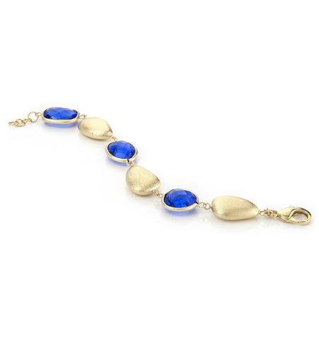 Poppy Blue + Satin Pebble Bracelet
