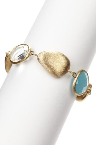 Mint Chalcedony + Rock Crystal + Blue Chalcedony Satin Pebble  Bracelet