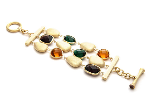 Amber + Citrine + Emerald + Satin Pebble 3 Row Bracelet - Closeout