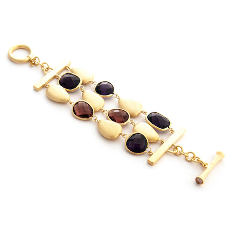 Amethyst + Raspberry + Satin Pebble 3 Row Bracelet