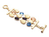 Amethyst + Swiss Blue + Peach + Satin Pebble 3 Row Bracelet