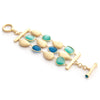 Aqua + Cat's Eye Blue + Satin Pebble 3 Row Bracelet