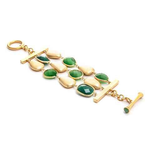 Cat's Eye Green + Satin Pebble 3 Row Bracelet