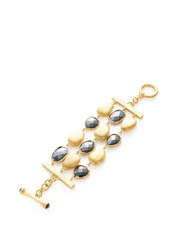 Hematite + Satin Pebble 3 Row Bracelet - Closeout
