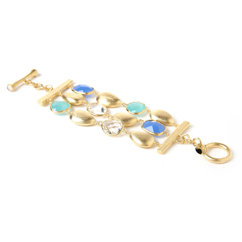 Mint Chalcedony+ Blue Chalcedony + Rock Crystal + Satin Pebble 3 Row Bracelet