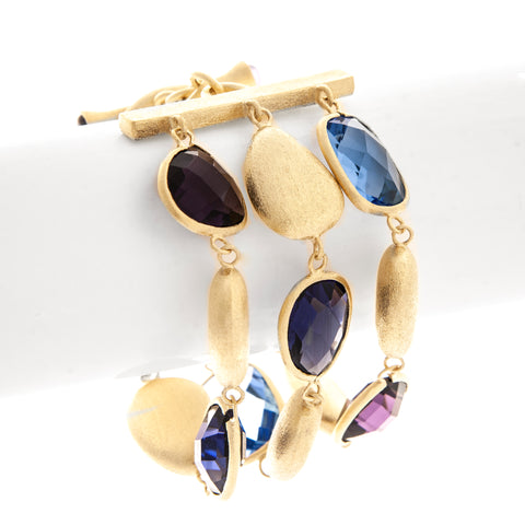 Swiss Blue + Amethyst + Iolite + Satin Pebble 3 Row Bracelet