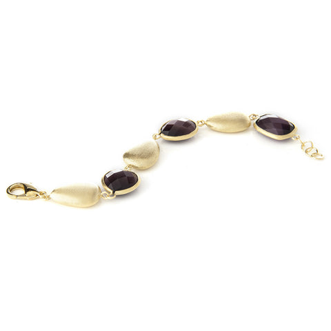 Purple Cat's Eye + Satin Pebble Bracelet