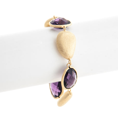 Amethyst + Satin Pebble Bracelet