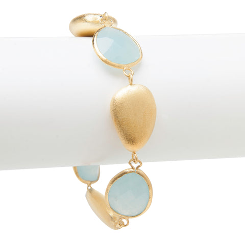 Caribbean Blue Quartzite + Satin Pebble  Bracelet