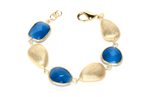 Blue Cat's Eye + Satin Pebble Bracelet