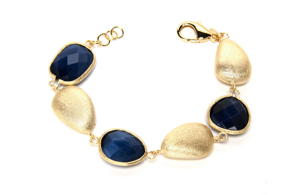 Navy Blue Cat's Eye Satin Bead Station Bracelet
