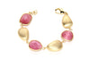 Raspberry Cat's Eye + Satin Pebble Bracelet