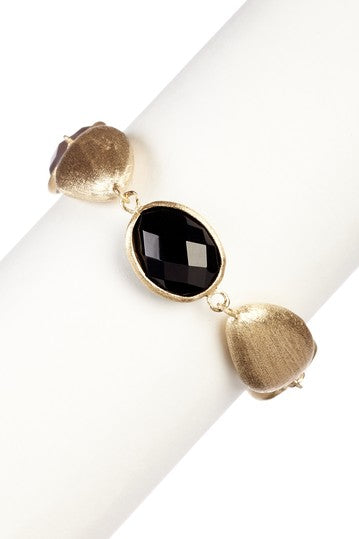 Onyx + Satin Pebble Bracelet