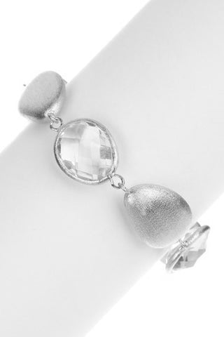 Rhodium Rock Crystal + Satin Bead Bracelet