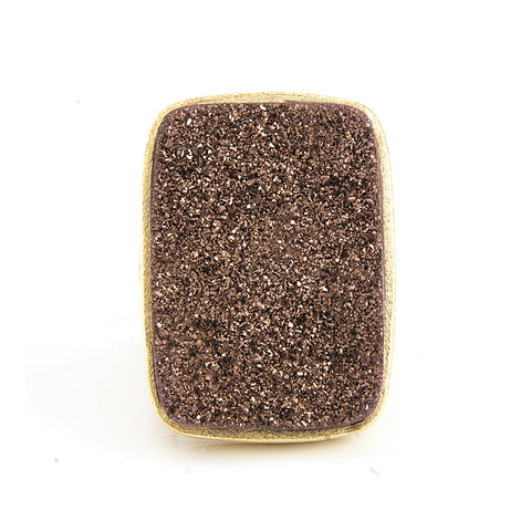 Mink Druzy Quartz Bold Rectangular Open Shank Cocktail Ring - Closeout