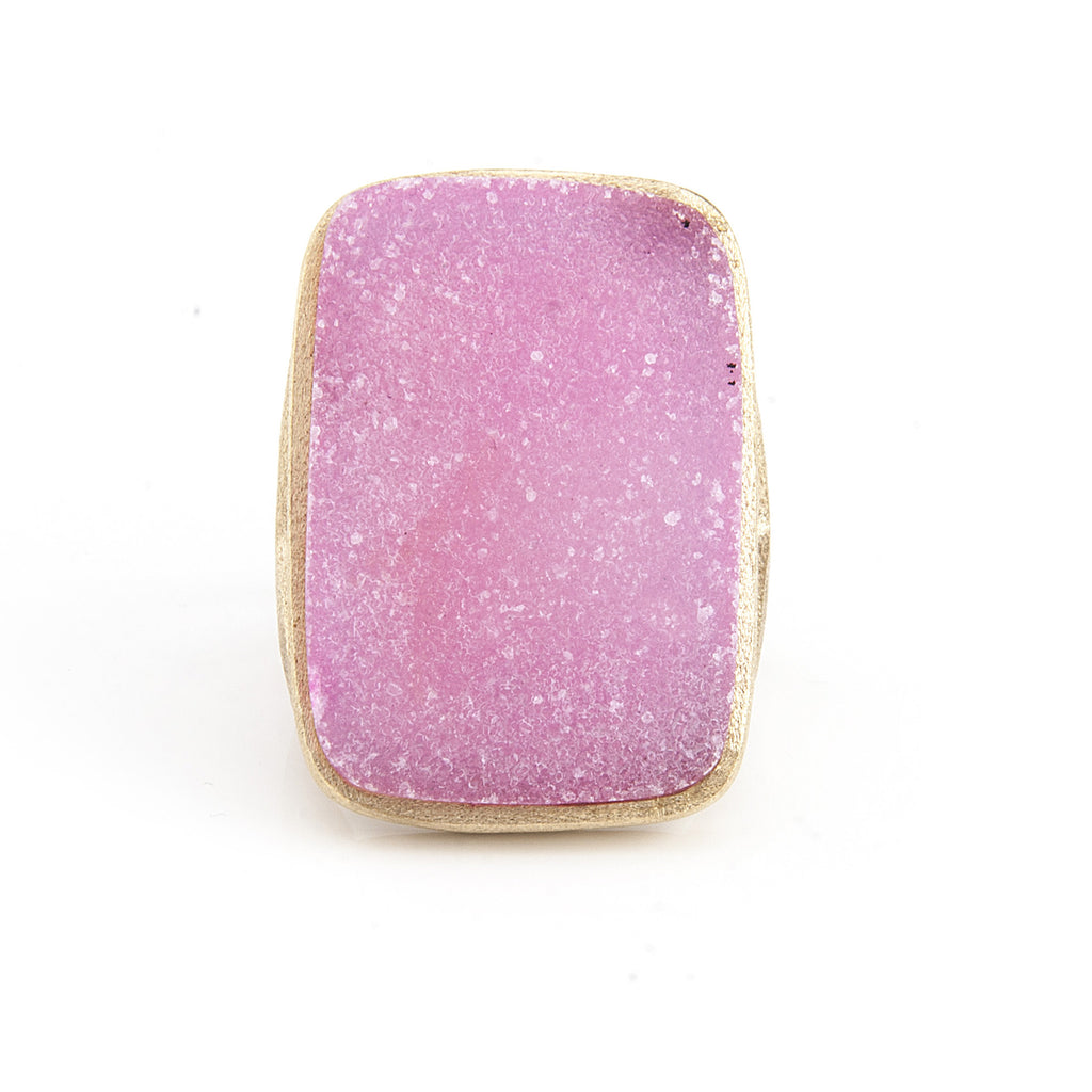 Pink Druzy Quartz Cocktail Ring