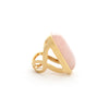 Rose Quartz Bold Rectangular Open Shank Cocktail Ring