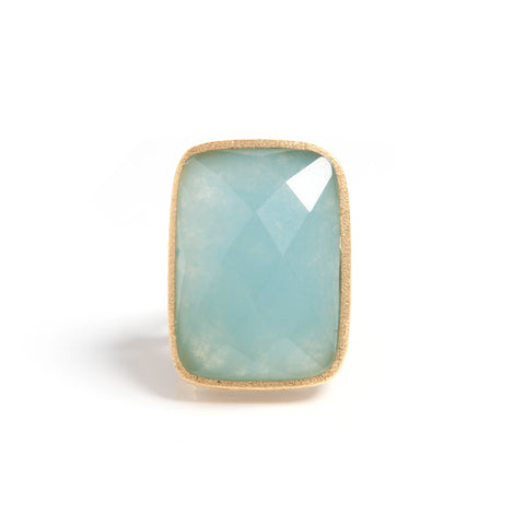 Caribbean Quartzite Bold Rectangular Open Shank Cocktail Ring