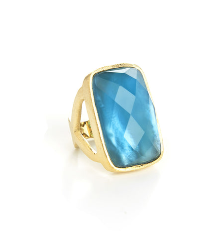 London Blue-MOP Doublet Rectangle Ring
