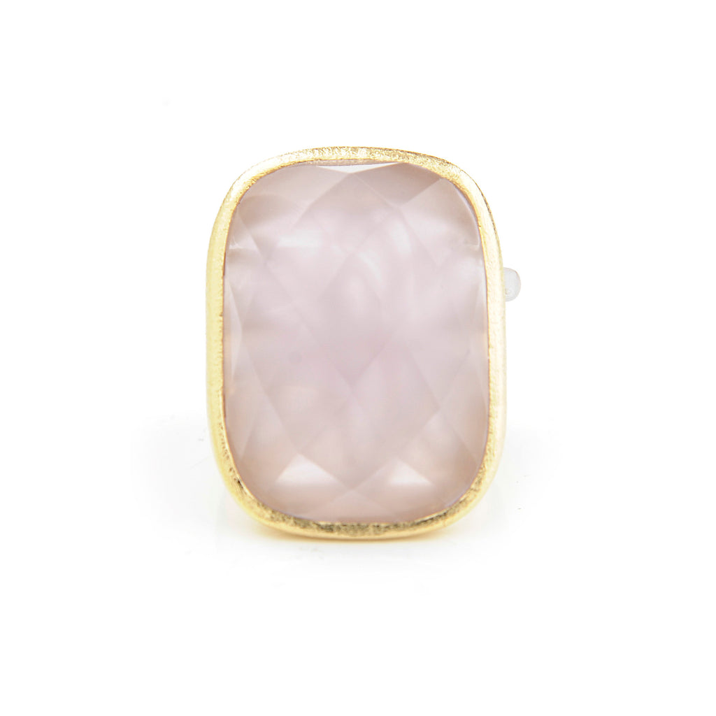 Rose Quartz Cocktail Ring + Side Accent