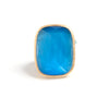 Blue Cat's Eye Cocktail Ring + Side Accent