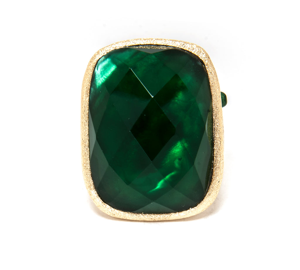 Emerald - Mother Of Pearl Doublet Cocktail Ring + Side Accent