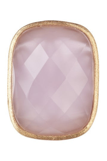 Lavender Chalcedony Cocktail Ring + Side Accent