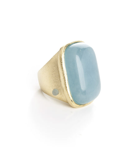 Caribbean Blue Quartzite Cocktail Ring + Side Accent