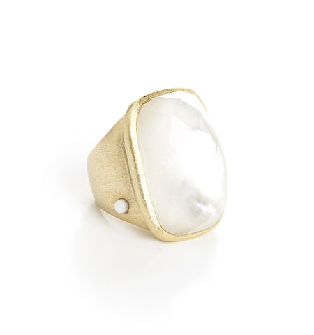 Rock Crystal-Mother Of Pearl Doublet Cocktail Ring w/ Side Accent