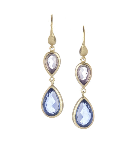 Aquamarine + Poppy Blue Double Dangle Teardrop Earrings