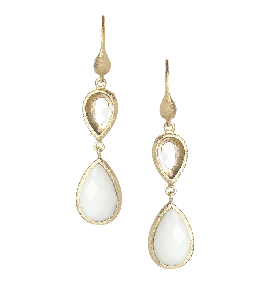 Rock Crystal + White Agate Double Dangle Teardrop Earrings